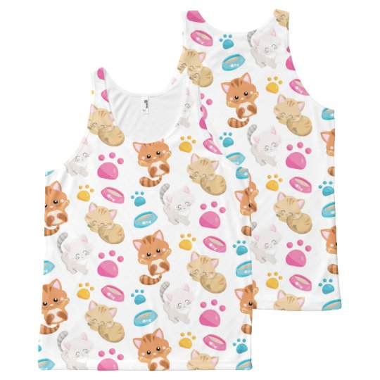 Adorable Multicolor Cartoon Style Cats Paw Prints All-Over Print Singlet