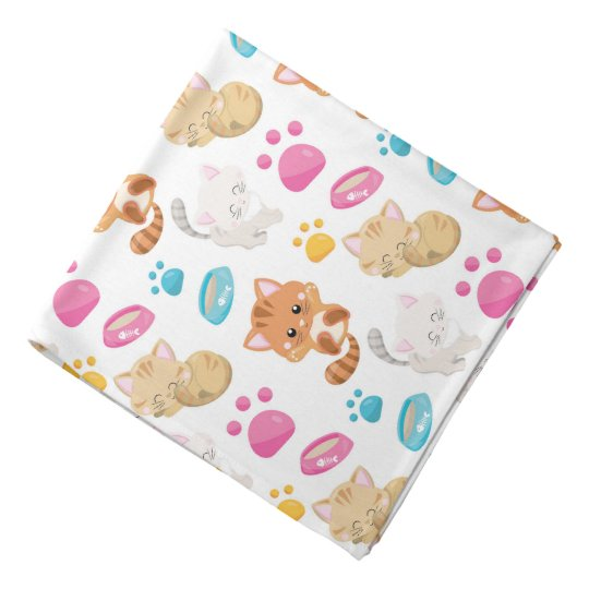Adorable Multicolor Cartoon Style Cats Paw Prints Bandana