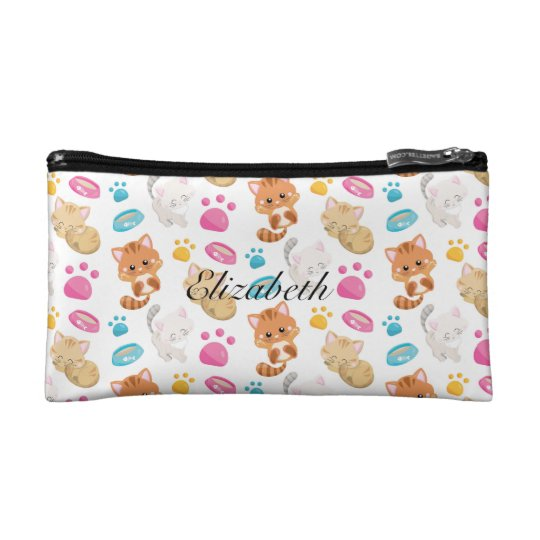 Adorable Multicolor Cartoon Style Cats Paw Prints Cosmetic Bag
