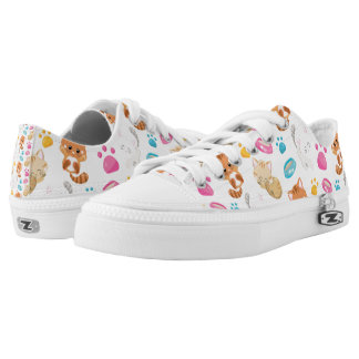Adorable Multicolor Cartoon Style Cats Paw Prints Low Tops