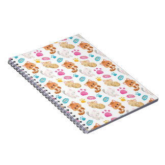 Adorable Multicolor Cartoon Style Cats Paw Prints Notebook