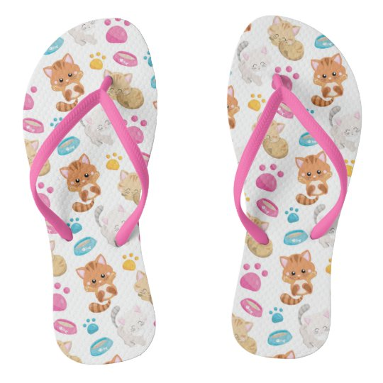 Adorable Multicolor Cartoon Style Cats Paw Prints Thongs