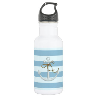 Adorable Nautical Anchor on Light Blue  Stripes 532 Ml Water Bottle