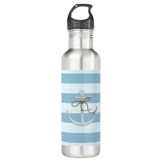 Adorable Nautical Anchor on Light Blue  Stripes 710 Ml Water Bottle