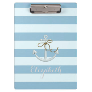Adorable Nautical Anchor on Light Blue  Stripes Clipboard