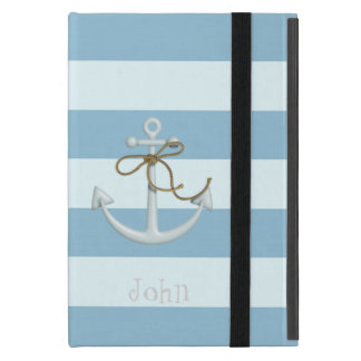 Adorable Nautical Anchor on Light Blue  Stripes Cover For iPad Mini