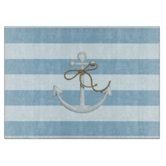 Adorable Nautical Anchor on Light Blue  Stripes Cutting Board