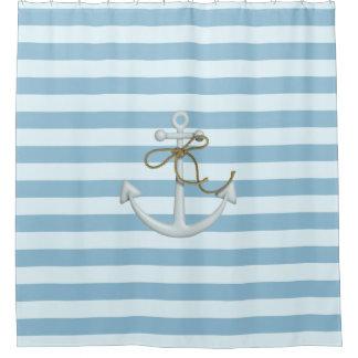 Adorable Nautical Anchor on Light Blue  Stripes Shower Curtain