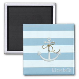 Adorable Nautical Anchor on Light Blue  Stripes Square Magnet