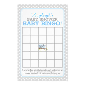 Adorable Owls (blue) Baby Bingo 14 Cm X 21.5 Cm Flyer