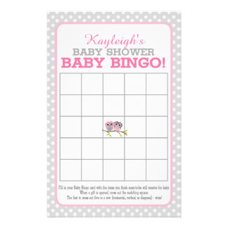 Adorable Owls (pink) Baby Bingo 14 Cm X 21.5 Cm Flyer