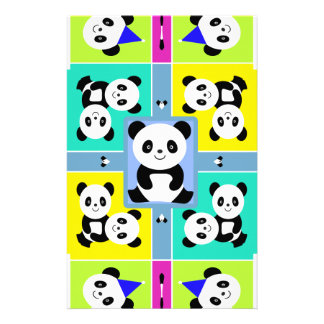 Adorable Panda Bears Bright Colors Stationery