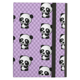 Adorable Panda's On Purple Checked Background iPad Air Cases