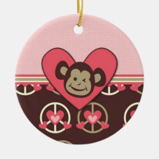 Adorable Peace Monkey Cards, Postage, Gifts Round Ceramic Decoration