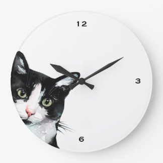Adorable Peeking Cat Black and White Clock