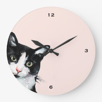 Adorable Peeking Cat Blush Clock
