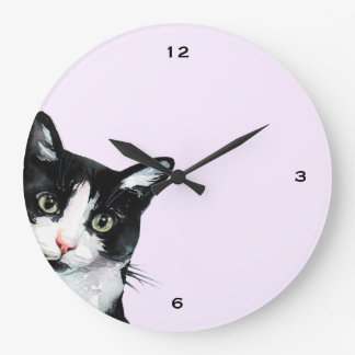 Adorable Peeking Cat Purple Clock