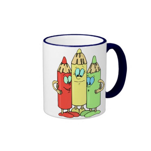 Adorable Pencil Characters Coffee Mugs