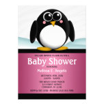 Adorable Penguin Pink Girl Baby Shower Invitations