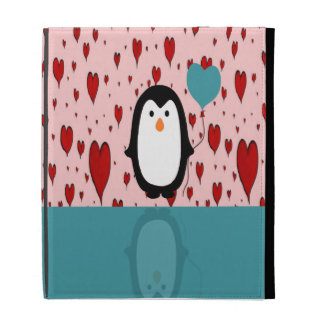 Adorable Penguin with Heart Balloon iPad Cases