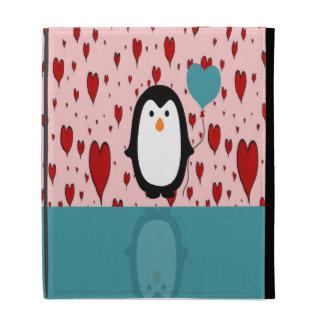 Adorable Penguin with Heart Balloon iPad Folio Cover