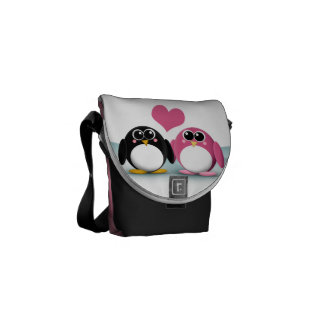 Adorable Penguins in Love Messenger Bag