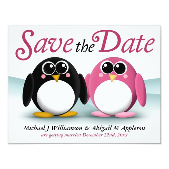 Adorable Penguins Save the Date Announcements