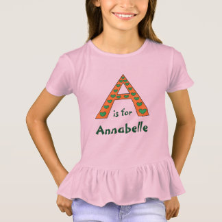 Adorable Personalized Letter A Girls Name T-Shirt