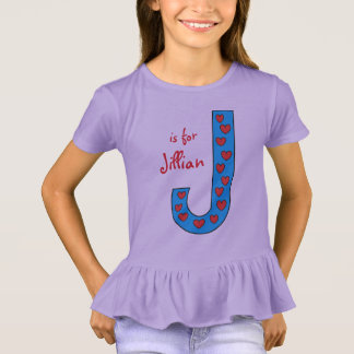 Adorable Personalized Letter J Girls Name T-Shirt