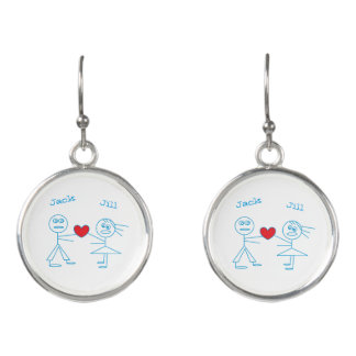 Adorable Personalized Stick Figure Couple in Love Earrings