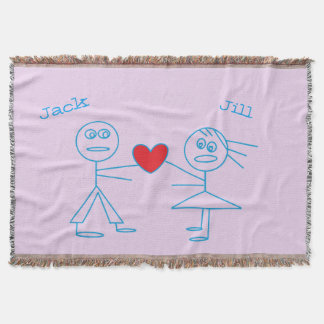 Adorable Personalized Stick Figure Couple in Love Throw Blanket