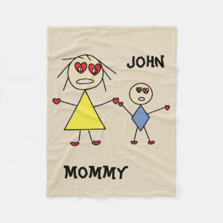 Adorable Personalized Stick Figure Mom and Son Fleece Blanket