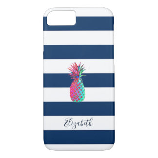 Adorable Pineapple ,Navy Blue Striped-Personalized iPhone 8/7 Case