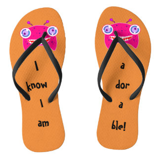 Adorable Pink Alien Design Flip Flops