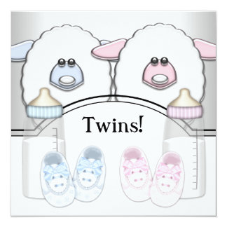 Adorable Pink and Blue Sheep Twin Baby Shower Card