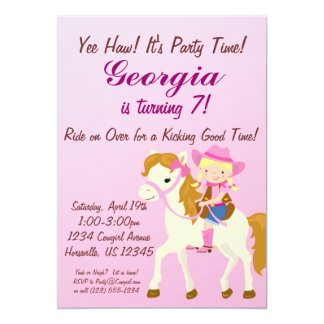 Adorable Pink Blonde Cowgirl Birthday Party Invite