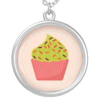 adorable pink cupcake silver plated necklace