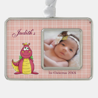 Adorable Pink Dragon on Pink Plaid Silver Plated Framed Ornament