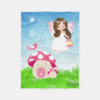 Adorable pink fairy fleece blanket