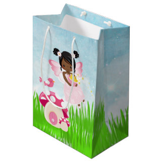 Adorable pink fairy medium gift bag