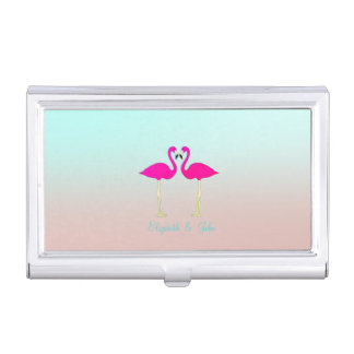 Adorable Pink Flamingos In Love-Personalized Business Card Holder