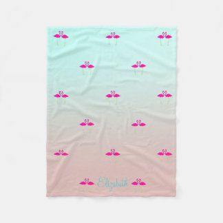 Adorable Pink Flamingos In Love-Personalized Fleece Blanket