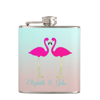 Adorable Pink Flamingos In Love-Personalized Hip Flask
