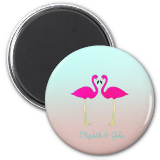 Adorable Pink Flamingos In Love-Personalized Magnet