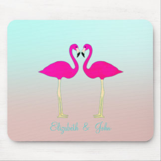 Adorable Pink Flamingos In Love-Personalized Mouse Pad