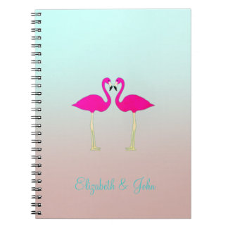 Adorable Pink Flamingos In Love-Personalized Notebooks