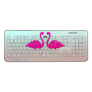 Adorable Pink Flamingos In Love-Personalized Wireless Keyboard