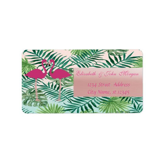 Adorable Pink Flamingos,Palm Leaves  Address Label