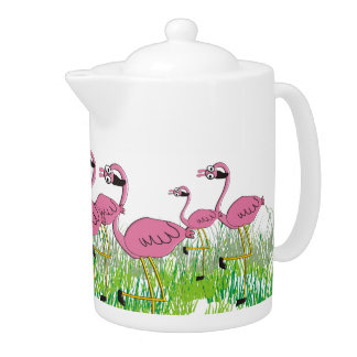 Adorable Pink Flamingos Teapot