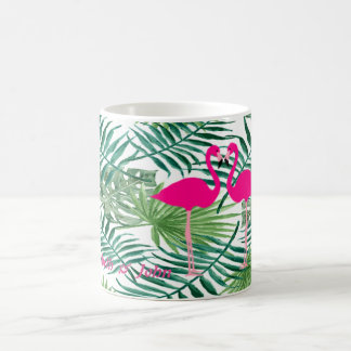 Adorable Pink Flamingos ,Tropical Palm Leaves Coffee Mug